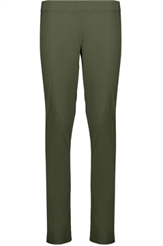 Foil full length slim leg pull on trapeze pant in olive stretch cotton mix fabric