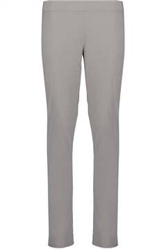Foil full length slim leg pull on trapeze pant in stone stretch cotton mix fabric