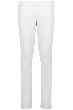 Foil full length slim leg pull on trapeze pant in white stretch cotton mix fabric