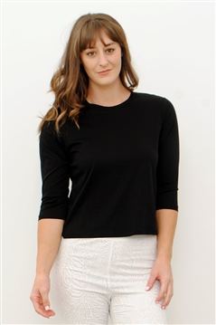 Line Twelve black crew neck tee top with boxy body and 3/4 sleeves