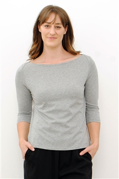Line Twelve silver marle boat neck top