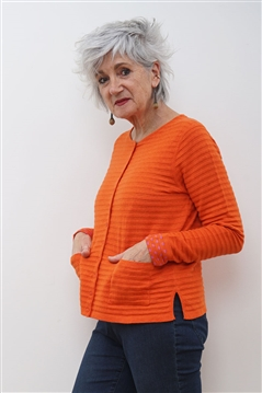 Mansted from Denmark cardigan in orange self stripe