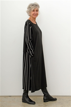 Moyuru 193611 mid calf length dress with black and white striped sleeves