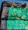 Altar / Puja Table Cover, Silk Brocade, Green Dragons & Black Auspicious Symbols