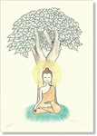 "Buddha Seated Under the Bodhi Tree - small size, 3.5 x 5"", Single Greeting Card by Dzogchen Ponlop"