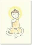 "Buddha on Bodhi Leaf - art greeting card, large size, 5""x7"", by Dzogchen Ponlop"