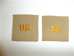 e2357 WW2 US Army Officer US collar  emblem Khaki single R9A