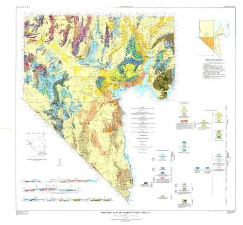 Map Of Clark County Nevada Geologic map of Clark County, Nevada [PLATE 1 FROM BULLETIN