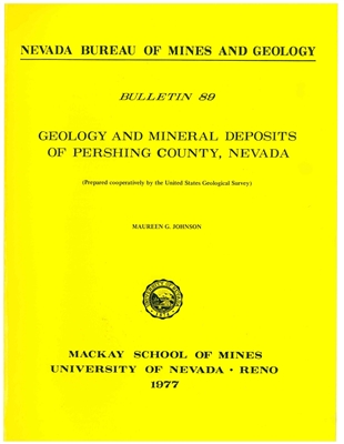 Geology and mineral deposits of Pershing County, Nevada PAPER COPY