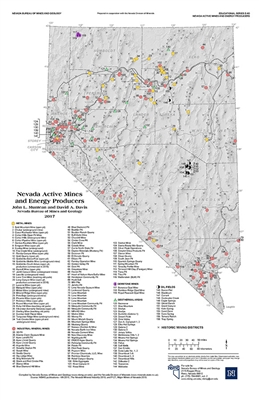 Nevada active mines and energy producers [11 x 17]