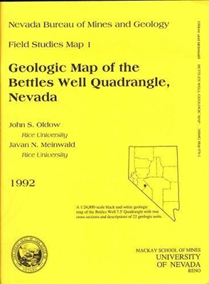 Geologic map of the Bettles Well quadrangle, Nevada B/W MAP