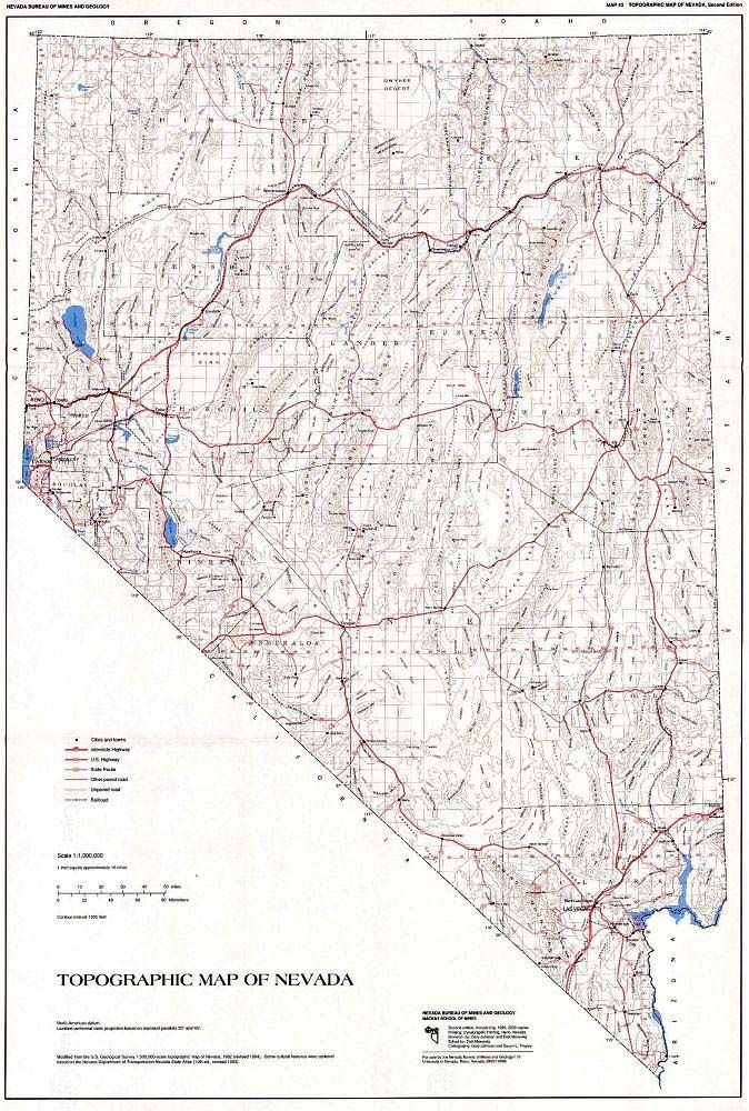 Topographic Map Of Nevada.Topographic Map Of Nevada Second Edition