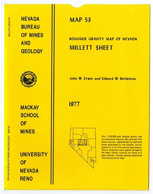 Bouguer gravity map of Nevada: Millett sheet