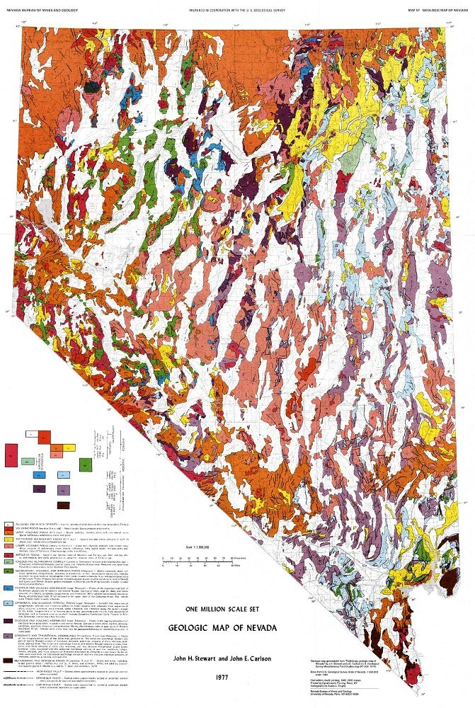 Millionscale Geologic Map Of Nevada - Mapofnevada