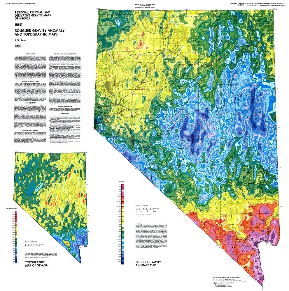 Regional, residual, and derivative gravity maps of Nevada [6 MAPS ON ...