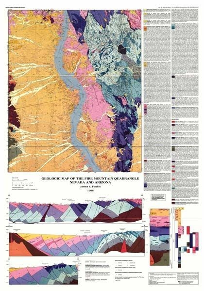 Map Of Nevada And Arizona.Geologic Map Of The Fire Mountain Quadrangle Nevada And Arizona Map And Text