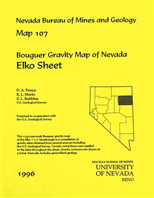 Bouguer gravity map of Nevada: Elko sheet