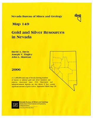 Gold and silver resources in Nevada PAPER MAP