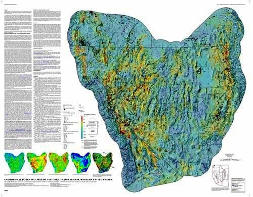 Geothermal Potential Map Of The Great Basin Western United States - Us map great basin