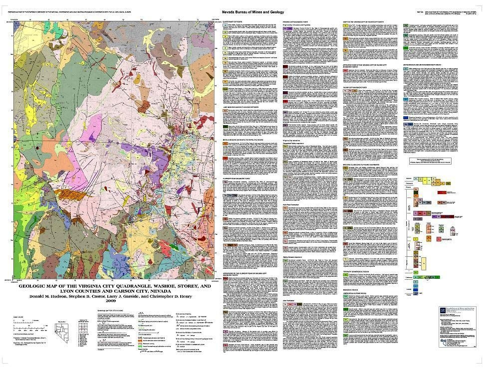 Geologic Map Of The Virginia City Quadrangle Washoe Storey And - Map of virginia counties