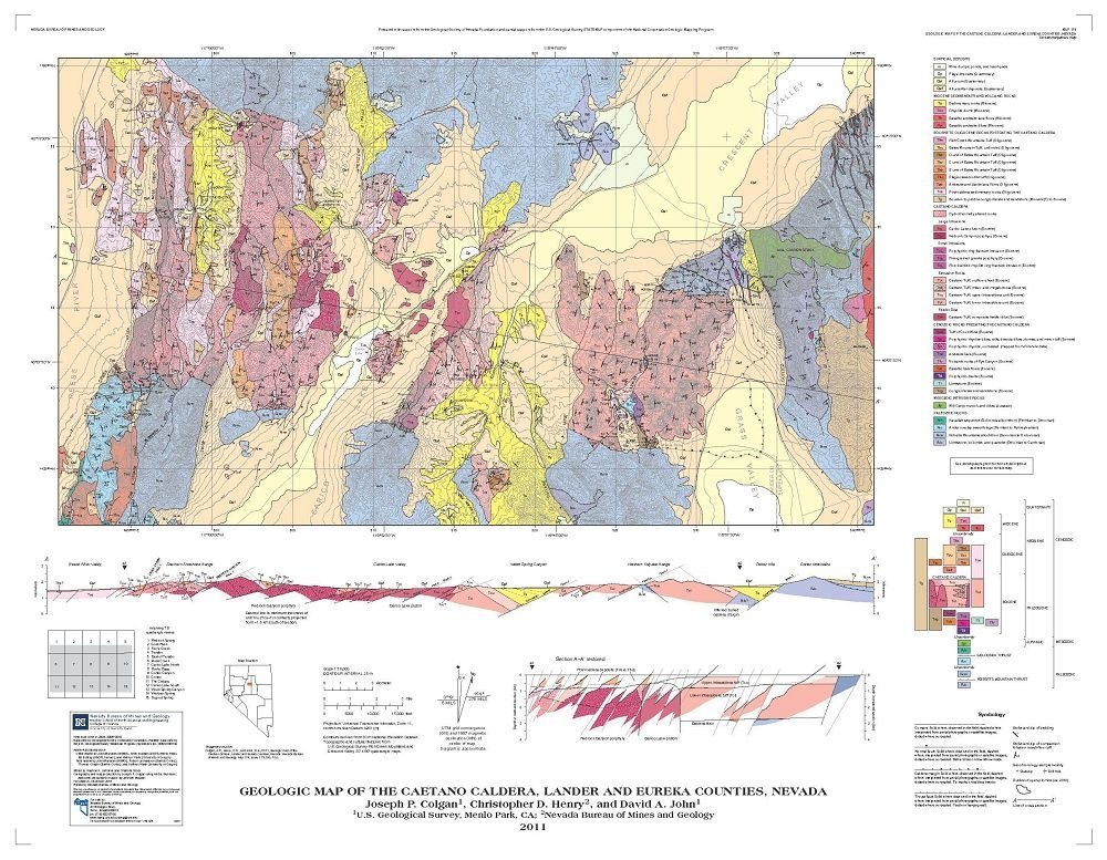 Geologic Map Of The Caetano Caldera Lander And Eureka Counties - Calderas in the us map
