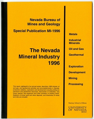 The Nevada mineral industry 1996 [TAPE-BOUND BOOKLET]