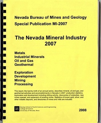 The Nevada mineral industry 2007 [ONLINE ONLY]