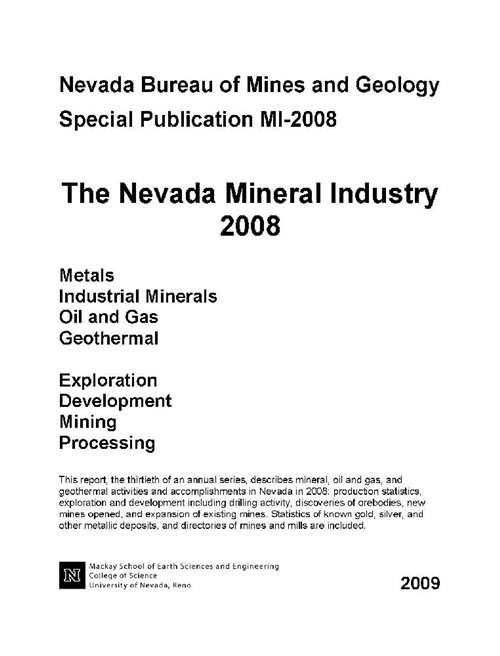 the nevada mineral industry 2008 online only. Black Bedroom Furniture Sets. Home Design Ideas