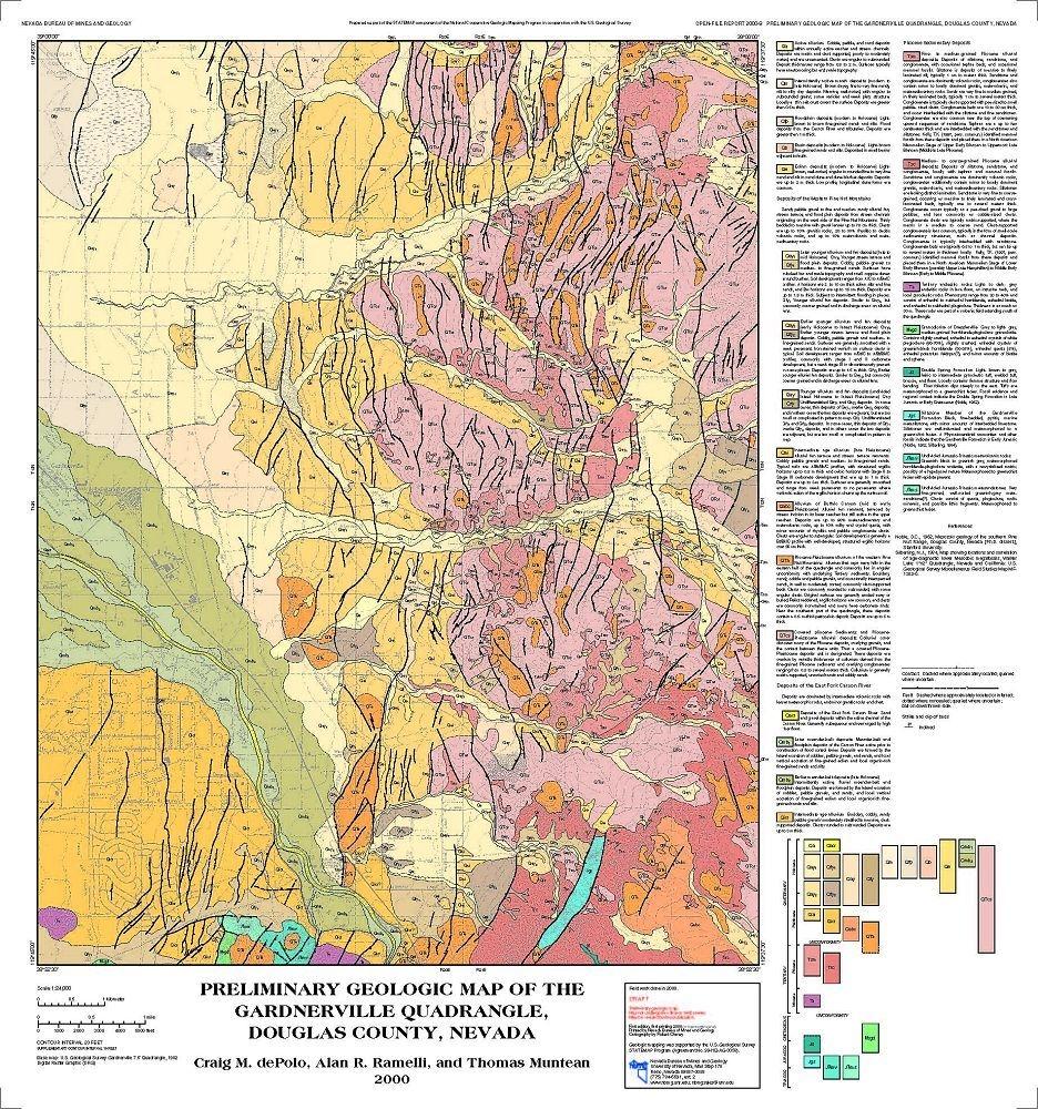 Douglas County Gis Map Geologic map of the Gardnerville quadrangle, Douglas County  Douglas County Gis Map