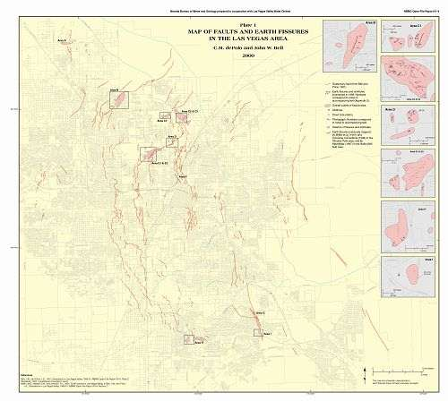 of faults and fissures in Las Vegas Valley