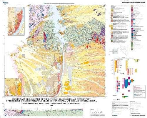 Geologic Map Of Arizona.Preliminary Geologic Map Of The Davis Dam Quadrangle And Eastern