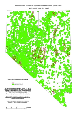 Mineral resource potential map of Nevada (Plate 5 from Open-File Report 06-12: Potential resources associated with proposed roadless areas in Nevada, second edition) PLATE 5 AND TEXT