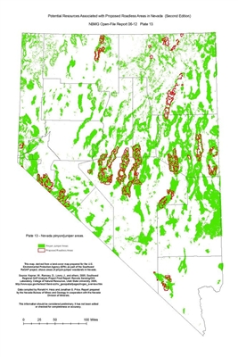 Nevada pinyon/juniper areas (Plate 13 from Open-File Report 06-12: Potential resources associated with proposed roadless areas in Nevada, second edition) PLATE 13 AND TEXT