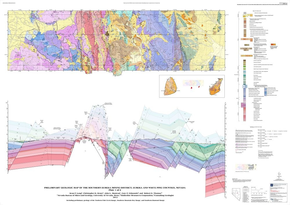 Eureka Nevada Map Preliminary geologic map of the southern Eureka mining district