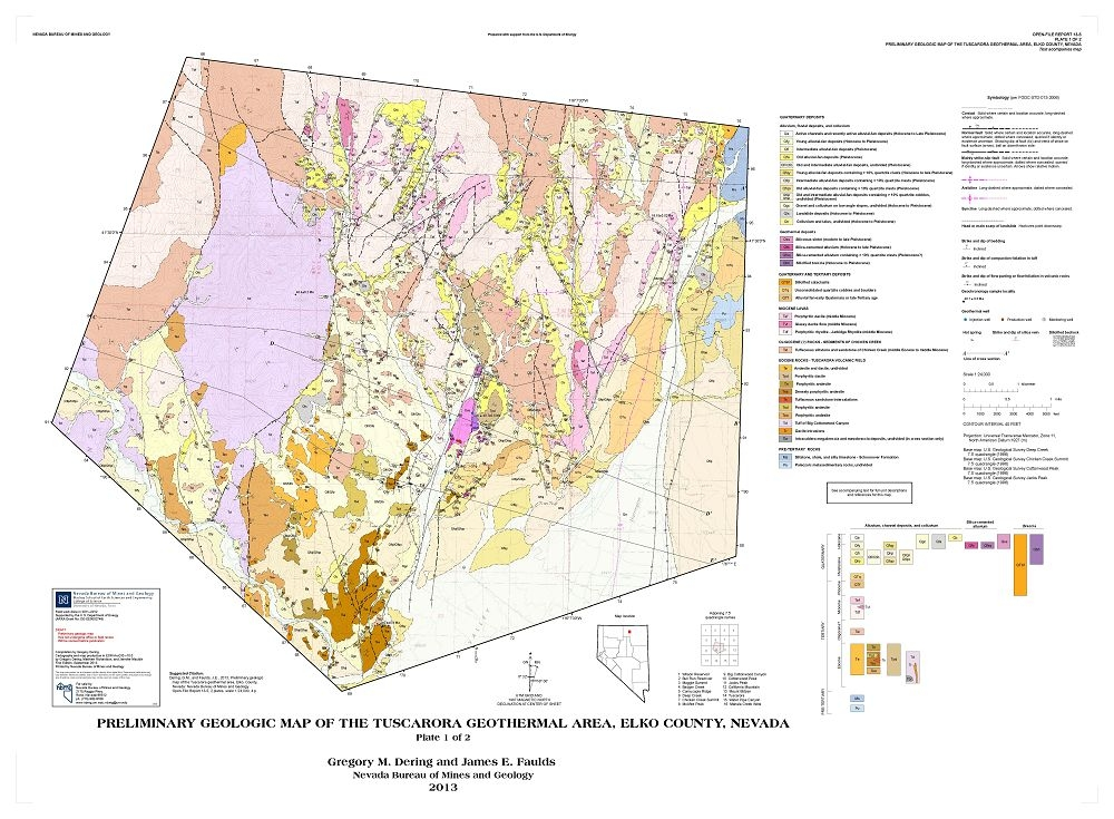 Preliminary Geologic Map Of The Tuscarora Geothermal Area Elko