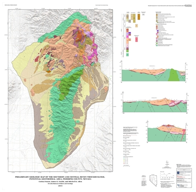 Preliminary geologic map of the southern and central Seven Troughs Range, potential geothermal area, Pershing County, Nevada MAP AND TEXT