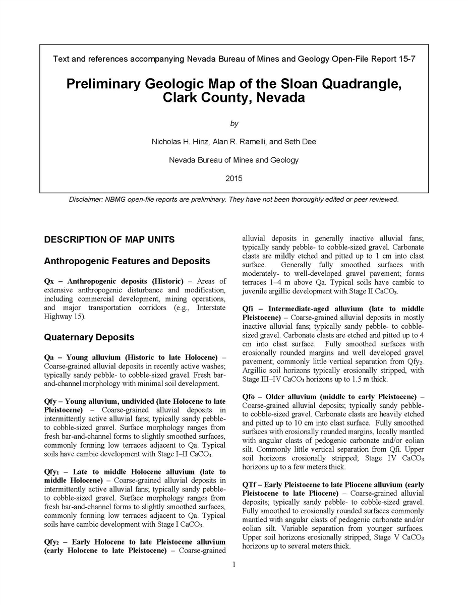 Preliminary Geologic Map Of The Sloan Quadrangle Clark County - Early us geological mapping
