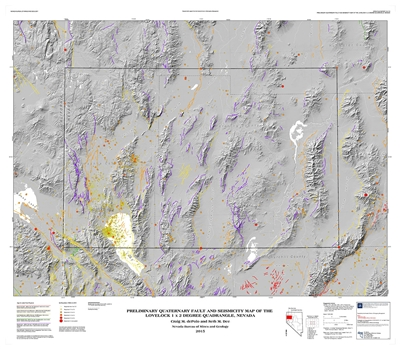 Preliminary Quaternary fault and seismicity map of the Lovelock 1 x 2 degree quadrangle, Nevada