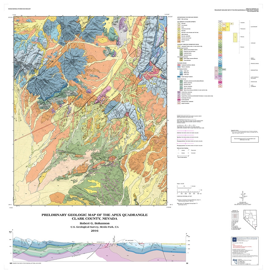 preliminary geologic map of the apex quadrangle clark county nevada map and text. Black Bedroom Furniture Sets. Home Design Ideas