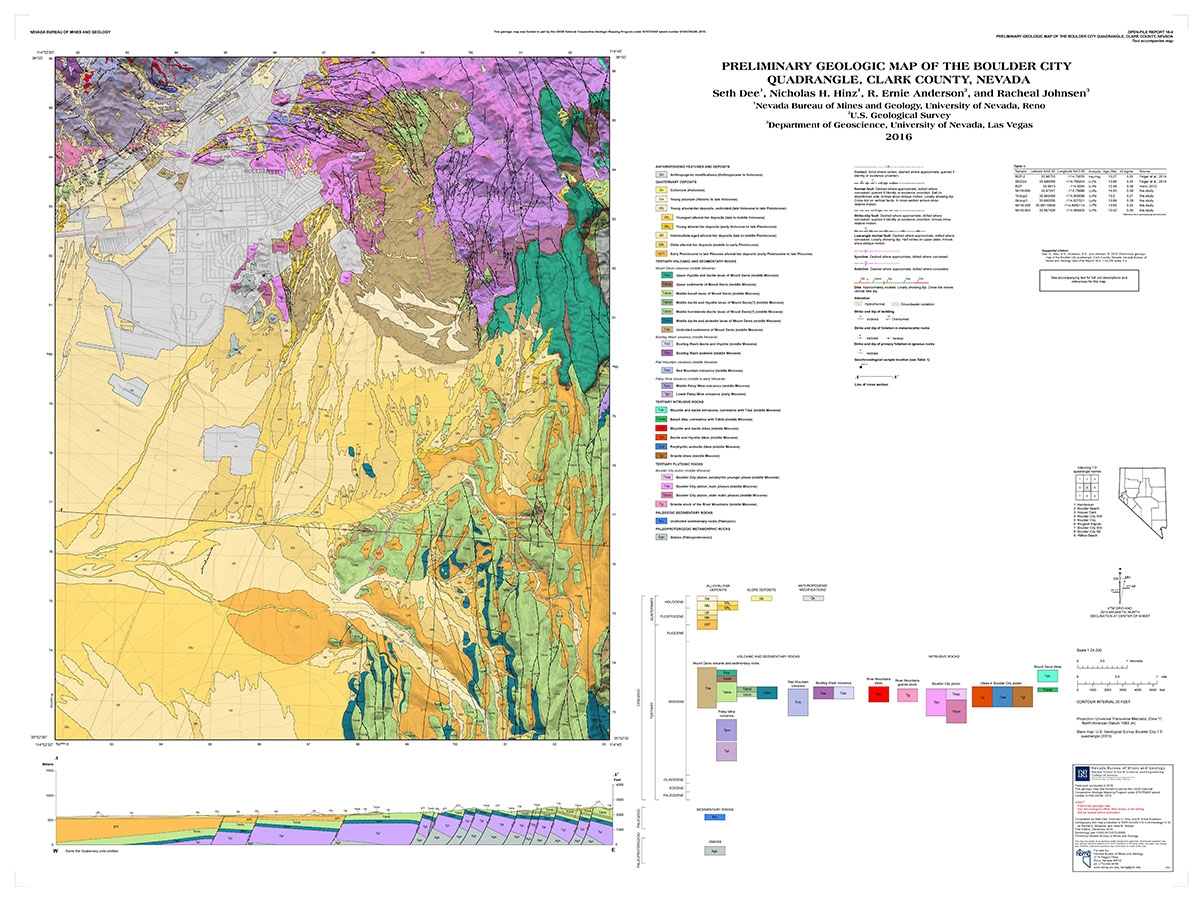 Preliminary geologic map of the Boulder City quadrangle Clark
