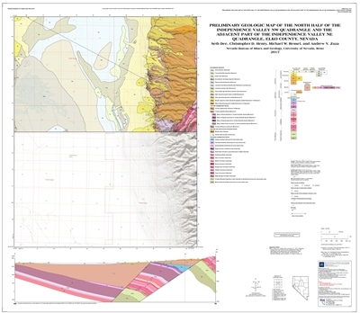 Preliminary geologic map of the north half of the Independence Valley NW quadrangle and the adjacent part of the Independence Valley NE quadrangle, Elko County, Nevada [ SUPERSEDED BY OPEN-FILE REPORTS 2018-04 and 2019-03]