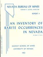 An inventory of barite occurrences in Nevada OUT OF PRINT