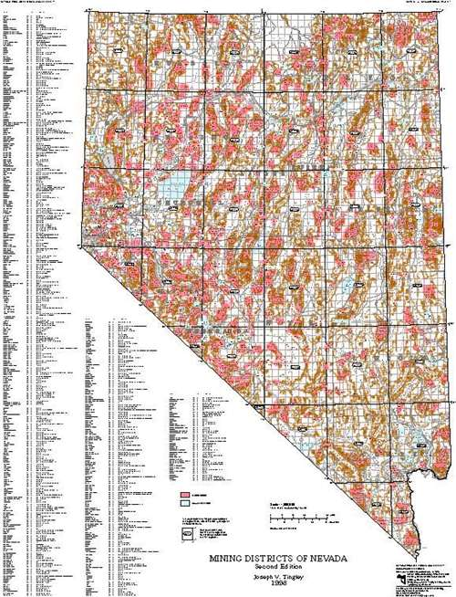 Nevada Mining Map Mining districts of Nevada (second edition) [MINING DISTRICT MAP