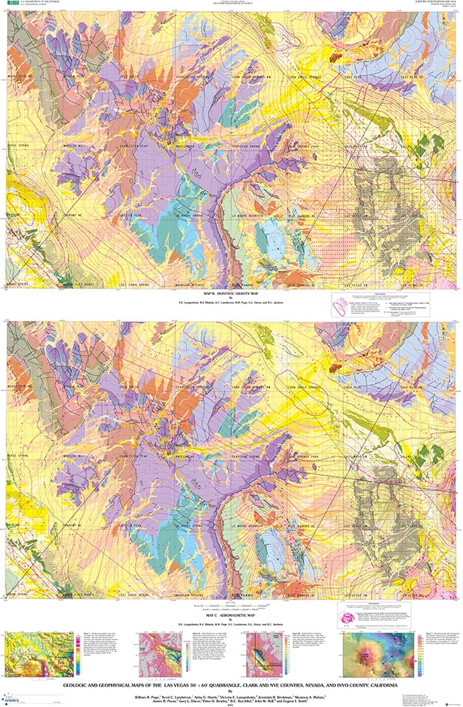 Geologic and geophysical maps of the Las Vegas 30 x 60 min quadrangle,  Clark and Nye counties, Nevada, and Inyo County, California [2 SHEETS AND  TEXT]