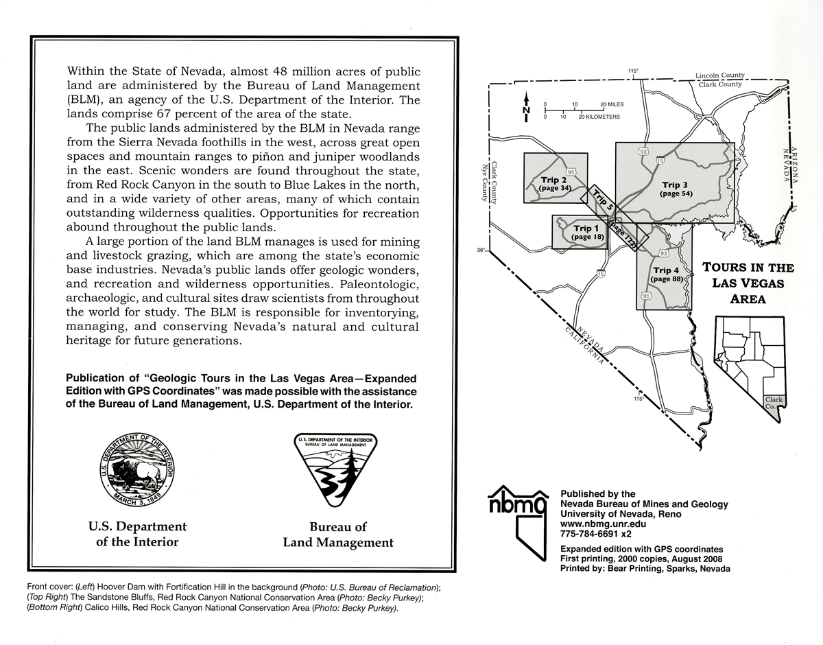 geologic tours in the las vegas area expanded edition nevada bureau of mines and geology special publication 16