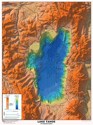 Lake Tahoe 3-D shaded relief POSTER AND 3-D GLASSES