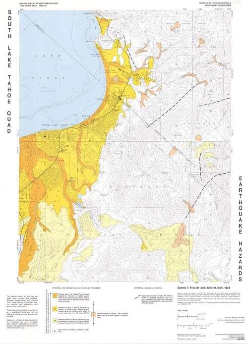 South Lake Tahoe quadrangle: Earthquake hazards map