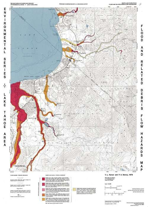 South Lake Tahoe folio: Flood and related debris flow hazards map