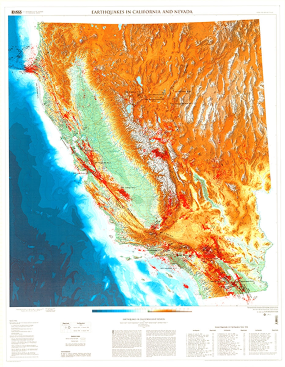 Earthquakes in California and Nevada (USGS map)