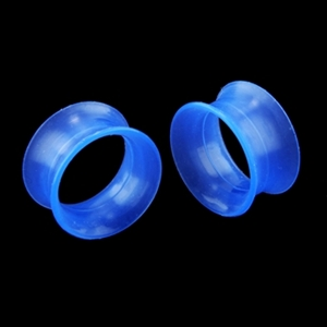 Double Flare Silicone Ear Plug Skin Tunnel Blue Body Jewelry